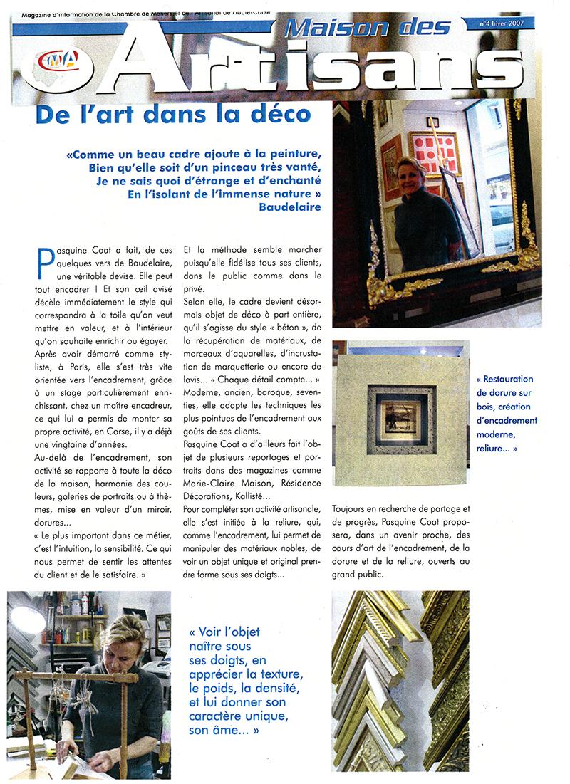 Maison des artisan article de l'art dans la déco