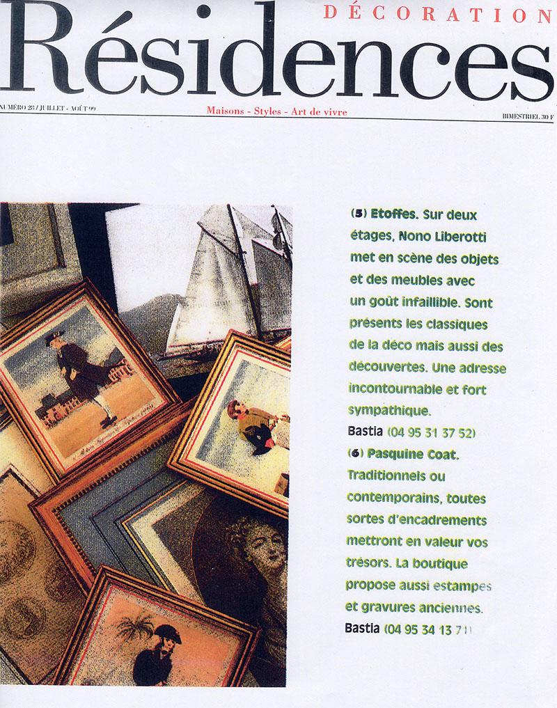 Pasquine COAT magazine Résidences